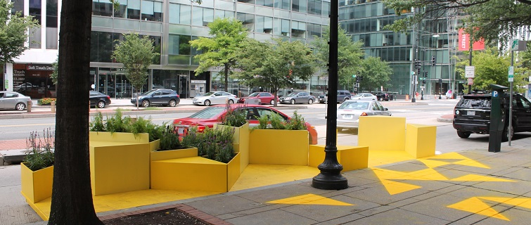 Bright yellow parklet in DC