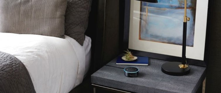 alexa on a hotel nightstand