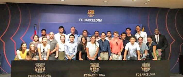 Georgetown students in FC Barcelona's press room