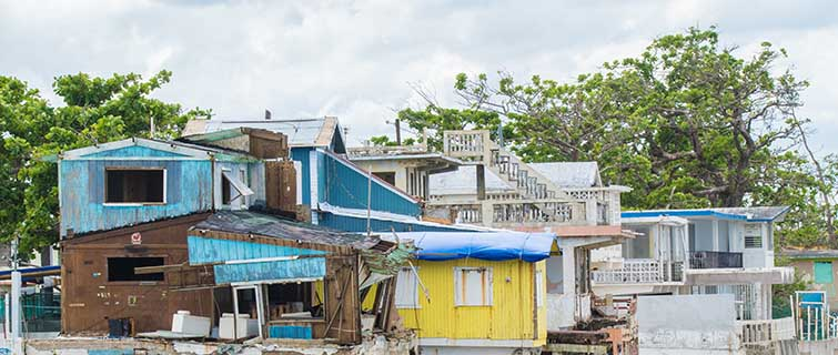Hurricane battered homes on the Puerto Rican coast