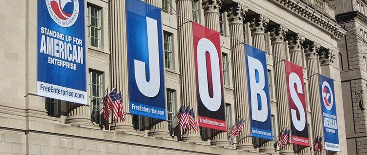 The DC Chamber of Commerce building with a JOBS banner