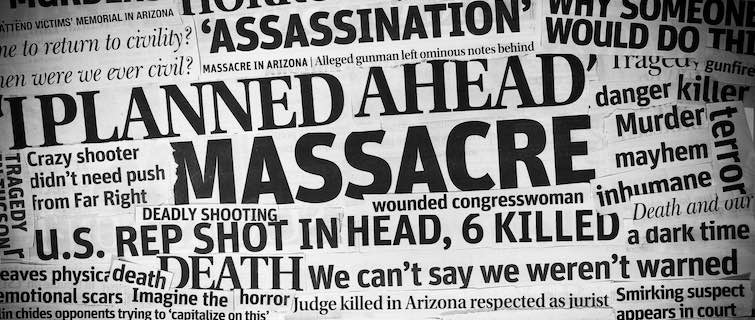 Collage or newspaper headlines related to mass shootings and disasters