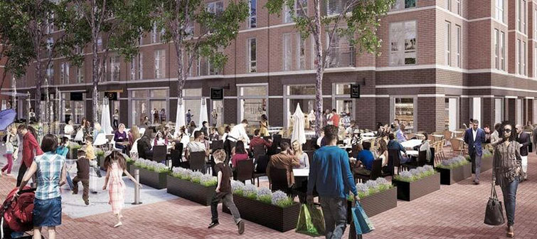 A rendering of a crowd in an open public space/dining patio area
