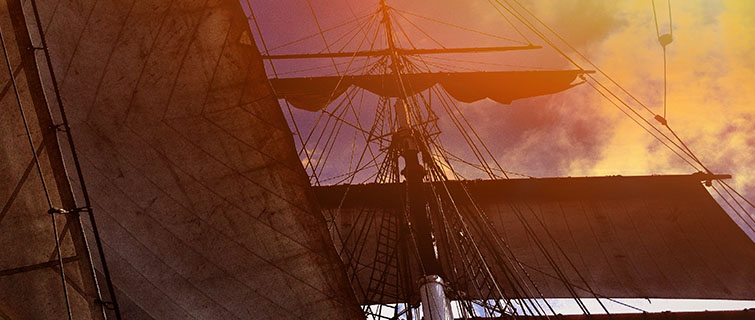 Old sailing ship on the seas