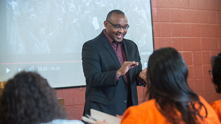 The Rev. Dr. Brad Braxton with incarcerated students.