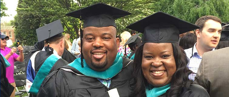 Siblings Aaron Chandler and Ruth Chandler Cook both received graduate degrees from Georgetown in May 2015.