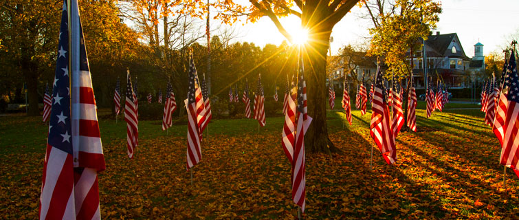 American flags at sunset.