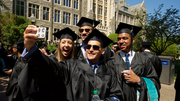 Georgetown graduates taking picture
