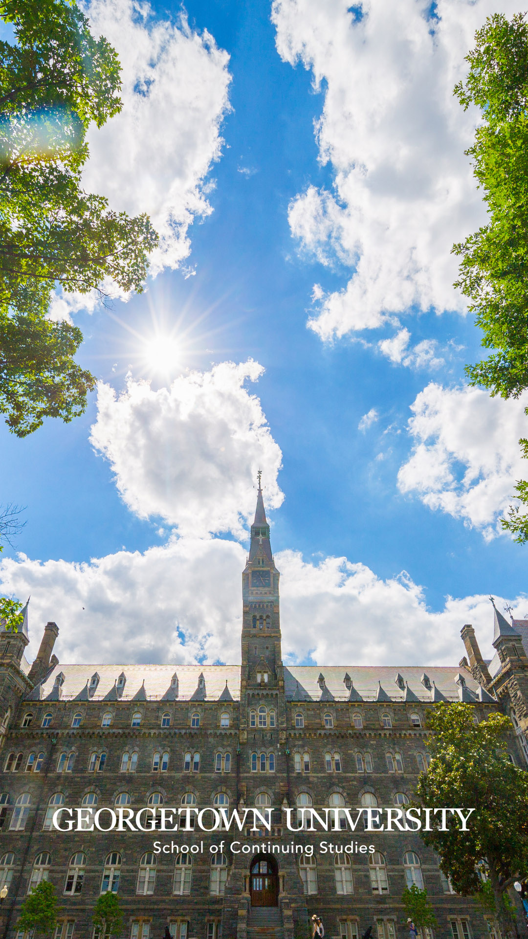 Healy Hall with blue sky