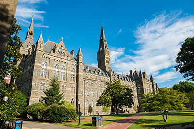 Exterior shot of Georgetown University's historic Healy Hall