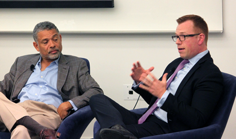 Master's in Real Estate panel: Adrian G. Washington (left) and Matthew Crossley (right)