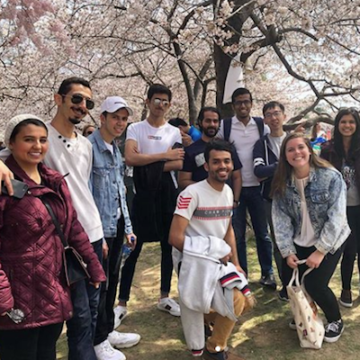 Students at the National Cherry Blossom Festival.